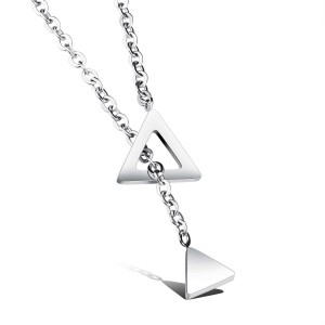 Trigon '316L Stainless Steel Silver Necklace