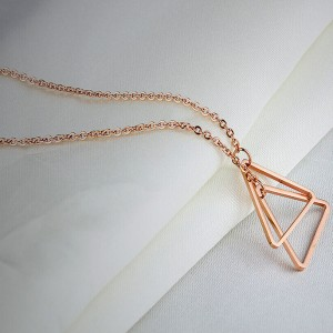 Triangle Twins '316L Stainless Steel Rosegold Necklace