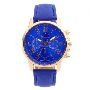 Genelyn Royal Blue Leather Watch