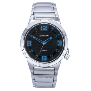 Alden Stainless Steel by Curren  (Black Face with Blue Dial)