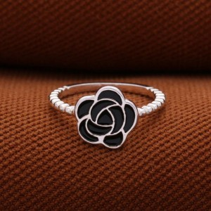 Roselle Black Flower 925 Silver Ring (Clearance Sale SRP 499)