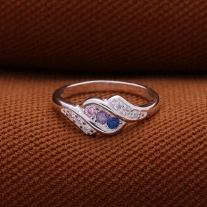Nadine Blue and Pink Gems Ring