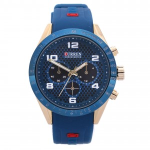 Jarvis Blue Silicone with Blue Face  Watch by Curren