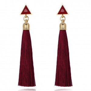 Joni Tassel Gold Plated Earrings - Red