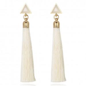 Joni Tassel Gold Plated Earrings - White