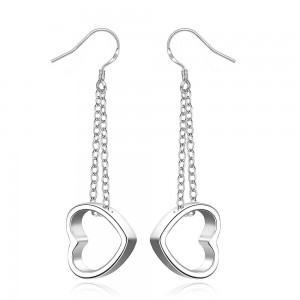 Magdalena Dangling Heart Silver Plated Earrings