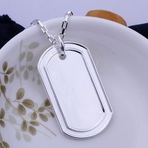 Michael Dog Tag 925 Silver Plated Necklace
