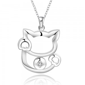 Kitty Cat 925 Silver Plated Necklace