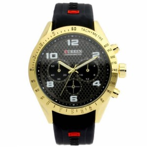Jarvis Black Face with Gold Case Silicon Watch by Curren