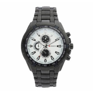 Reagan Stainless Steel Watch by Curren 40mm (Black Strap with White Face)