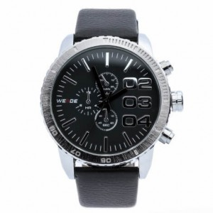 Spencer Leather Watch (Black Face) by Weide