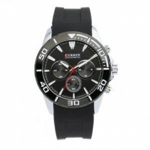 Zachary Silicone with Stainless Steel Case Watch by Curren Black Face (with Black Case)