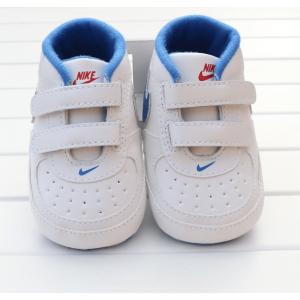 Nico Hi-Cut Prewalker Shoes (White with Blue Swoosh)