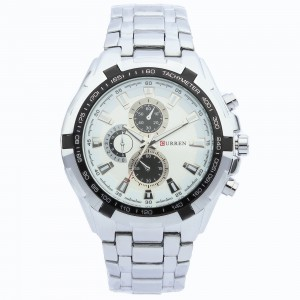 Reagan Stainless Steel Watch by Curren 40mm (Silver with White Face)