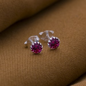 Rose Birthstone for October 925 Silver Earrings