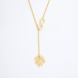 Yumi Infinity Lotus 18k Gold Plated Necklace