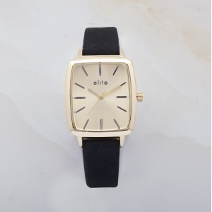 Ayen Gold Plated Watch Black Leather Strap