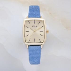 Ayen Gold Plated Watch Denim Leather Strap