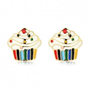 Cupcake 18k Gold Plated Earrings Multicolored