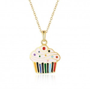 Cupcake 18k Gold Plated Necklace Multicolored