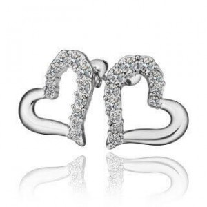 Ambitious Heart White Gold Plated Earrings