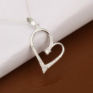 Andrea Heart 925 Silver Plated Necklace