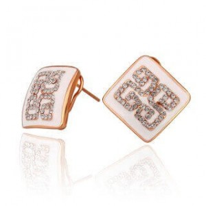 Blaire Rose Gold Plated Earrings (White)