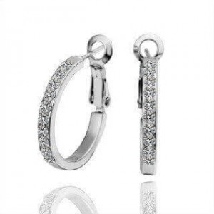 Jane 18K White Gold Plated Round with Diamond Earrings