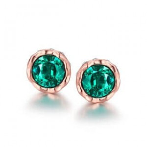 Korina Rose Gold Plated Earrings Green Stone