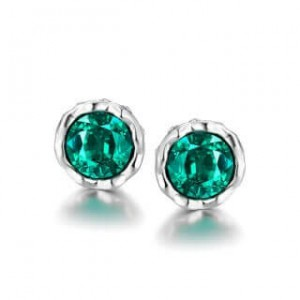 Korina White Gold Earrings Green Stone