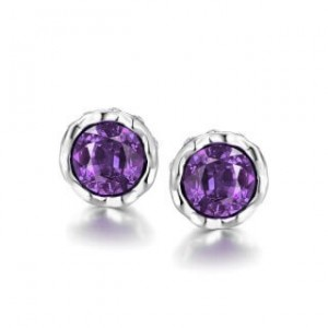 Korina White Gold Plated Earrings Violet Stone