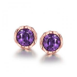 Korina Rose Gold Plated Earrings Violet Stone