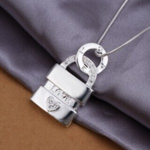 Locke Padlock Silver Plated Necklace