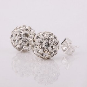 Patricia Crystal 925 Silver-Plated Stud Earrings