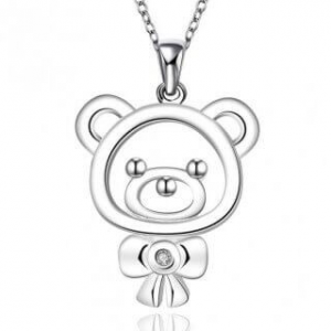 Polly Bear Plain 925 Silver Plated Necklace