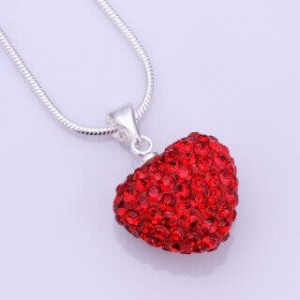 Red Heart Shamballa Necklace