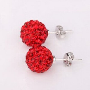 Remy Red Shamballa Stud Earrings