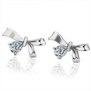 18k White Gold Plated Tara Ribbon Earrings