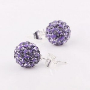 Vida Violet Shamballa Earrings