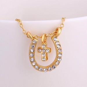Horse Shoe with Cross 18k Gold Plated Necklace