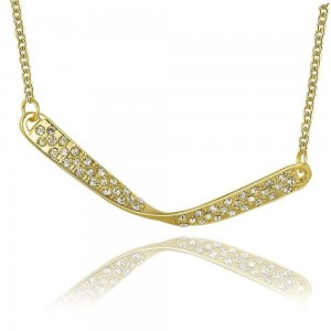 Twisted Bar 18k Gold Plated Necklace