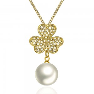 Flower Pearl 18k Gold Plated Necklace