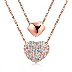 Yohann Double Heart Rose Gold Plated Necklace