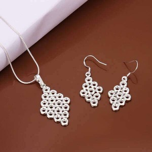 Amanda 925 Silver Plated Earrings and Necklace Set