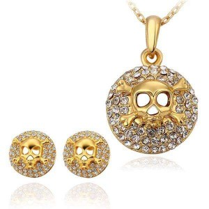 Avril Skull 18K Gold-Plated Necklace and Earrings Set