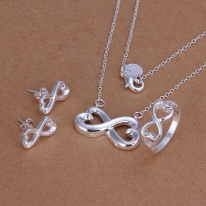 Claudine Heart Infinity Necklace, Earrings and Ring Set
