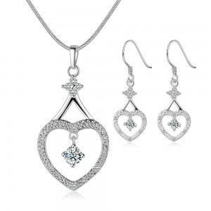 Lindsay Silver Plated Earrings and Necklace Set