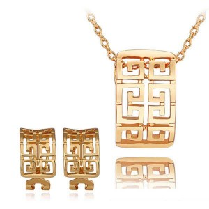 Maze Runner 18K Gold Plated Necklace and Earrings Set