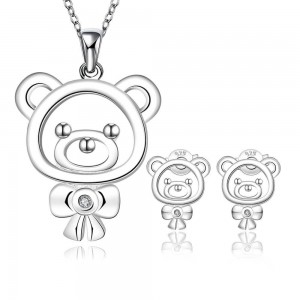Polly Bear 925 Silver Plated Earrings and Necklace Set