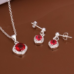 Ruby Red Earrings and Necklace Set Silver Plated